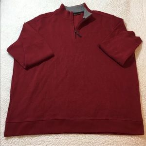 TASSO ELBA 1/4 ZIP 100% Cotton Red Sweater Sz 3XB